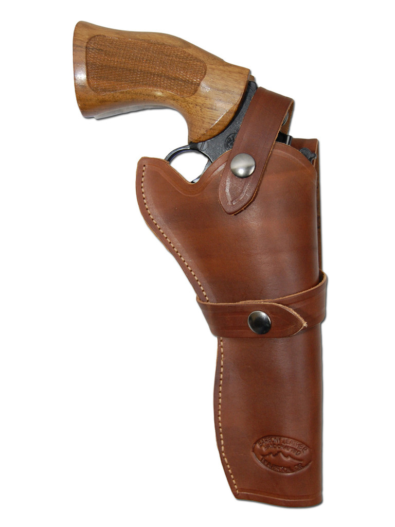 """Brown Leather Western Style Holster for 6"""" Revolvers"""