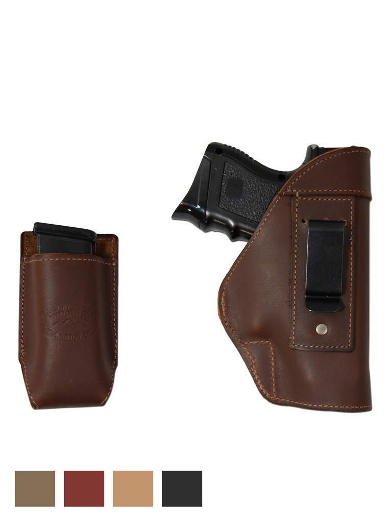 Leather Inside the Waistband Holster + Magazine Pouch for Compact Sub-Compact 9mm 40 45 Pistols