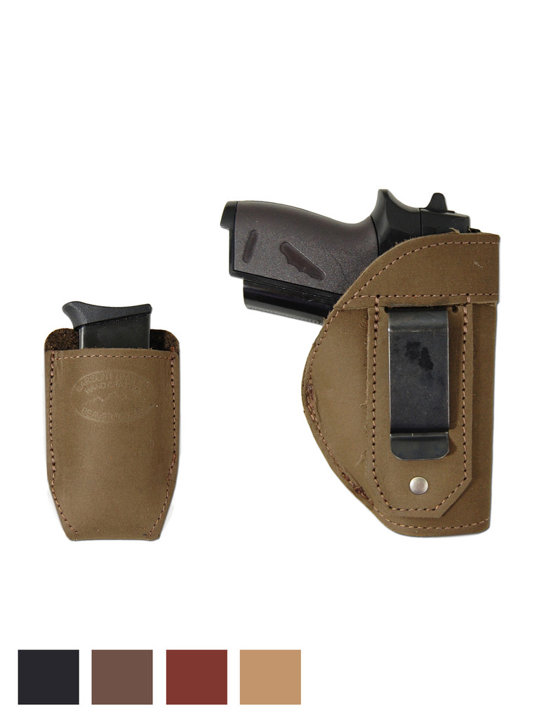 Leather Inside the Waistband Holster + Magazine Pouch for Mini/ Pocket 22 25 32 380 Pistols