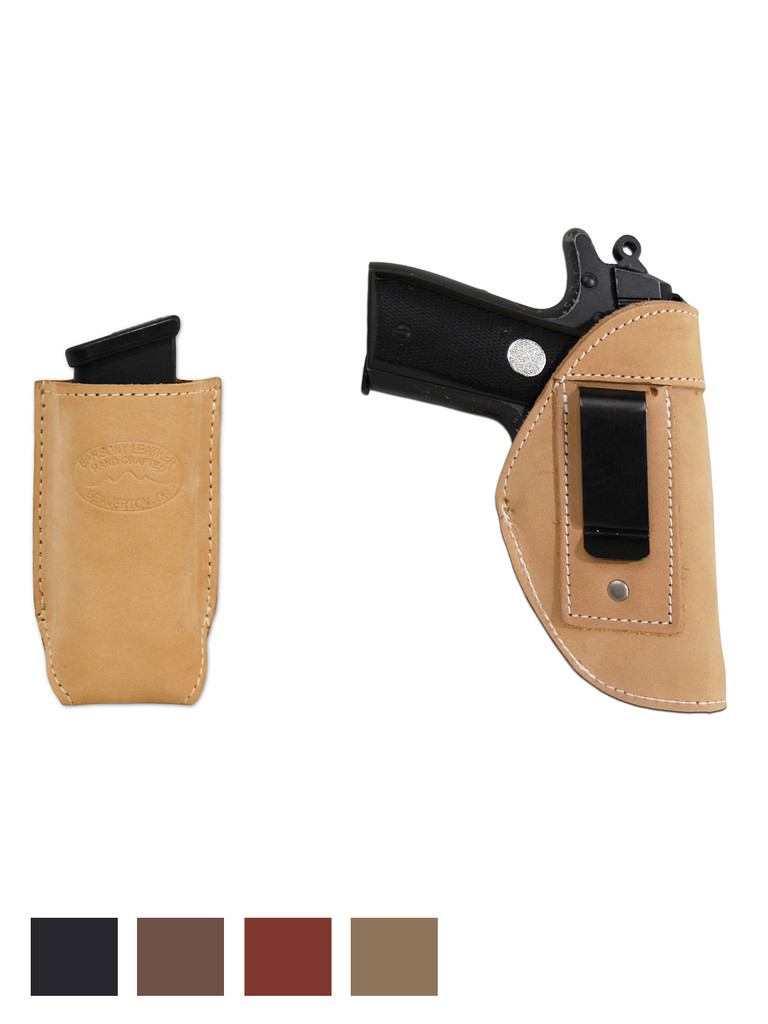 Leather Inside the Waistband Holster + Single Magazine Pouch for 380, Ultra-Compact 9mm 40 45 Pistols