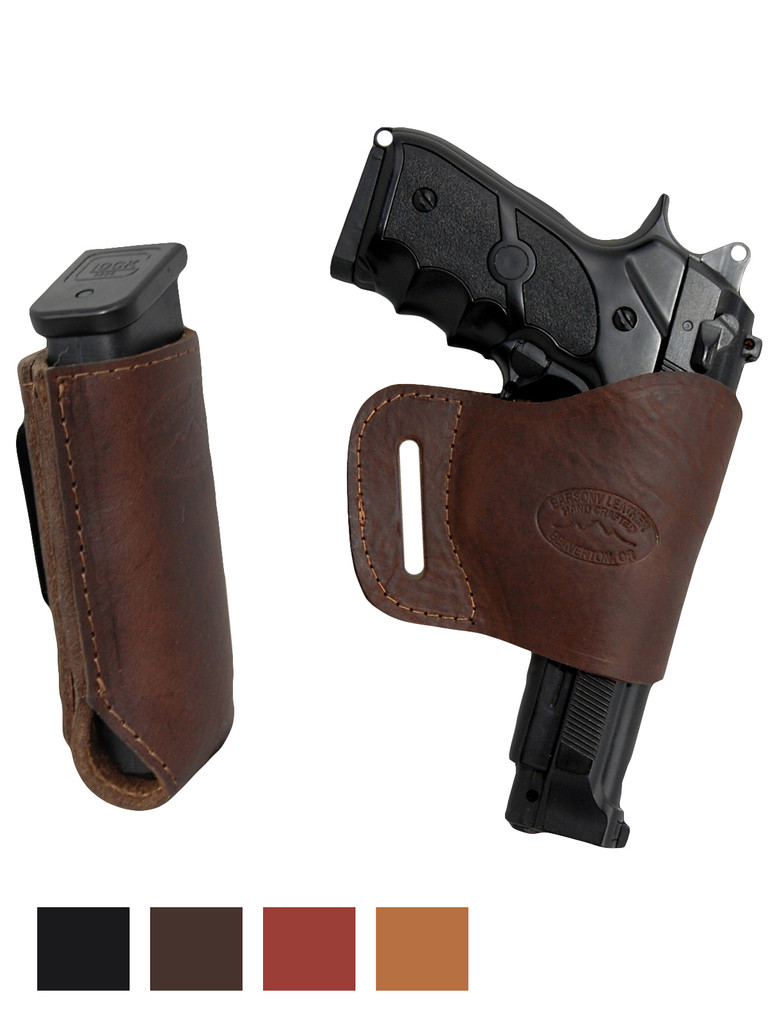 Leather Yaqui Holster + Single Magazine Pouch for Full Size 9mm 40 45 Pistols
