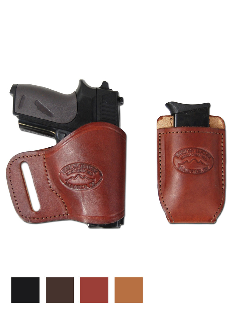Leather Yaqui Holster + Single Magazine Pouch for 380 Ultra Compact 9mm 40 45 Pistols