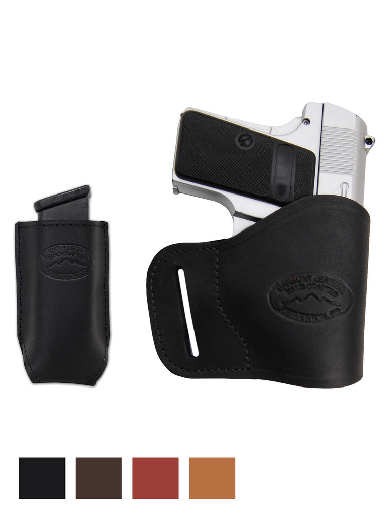 Leather Yaqui Holster + Single Magazine Pouch for Mini/Pocket 22 25 32 380 Pistols