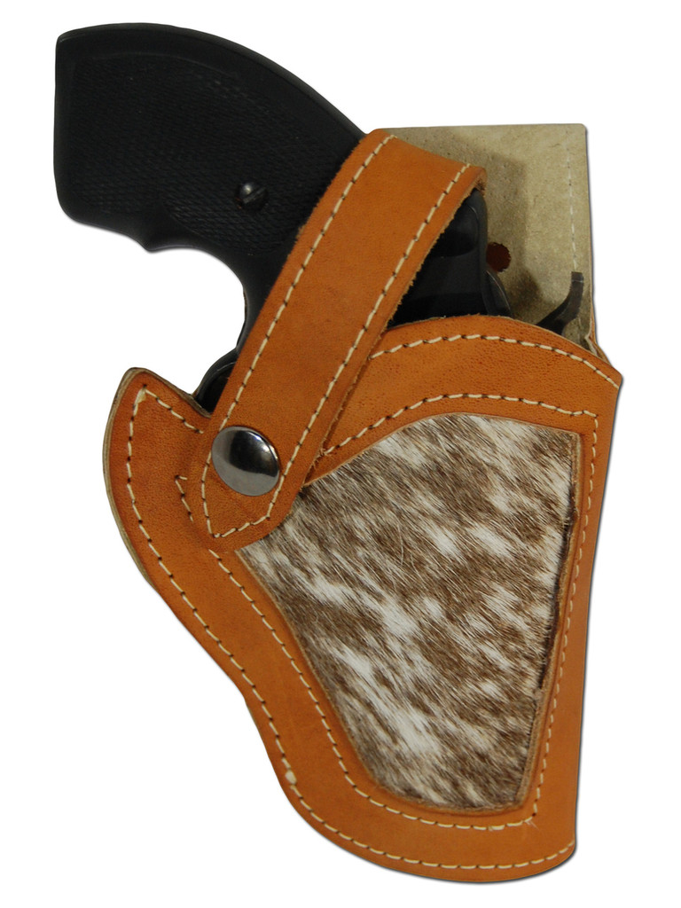 "Saddle Tan Leather Hair on Hide Inlay Holster for 2"", Snub-Nose .38 .357 Revolvers"