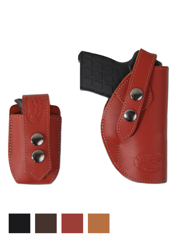 Leather OWB Belt Gun Holster + Single Magazine Pouch for .380, Ultra-Compact 9mm 40 45 Pistols