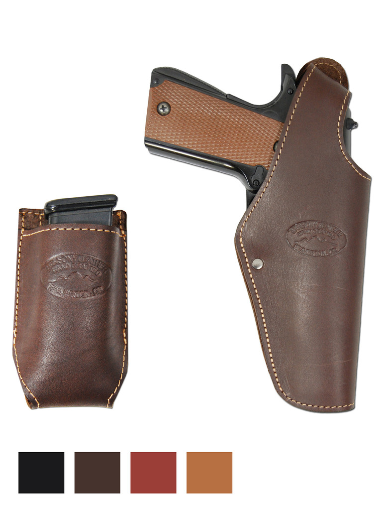Leather OWB Holster + Single Magazine Pouch for Full Size 9mm 40 45 Pistols
