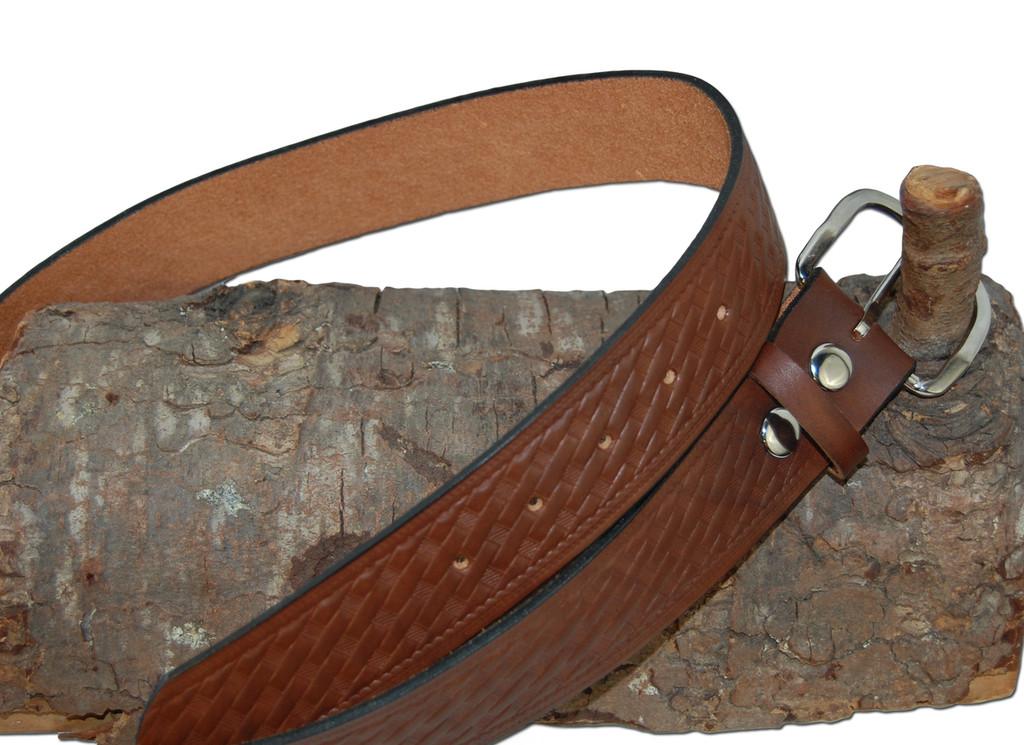 basket-weave leather belt