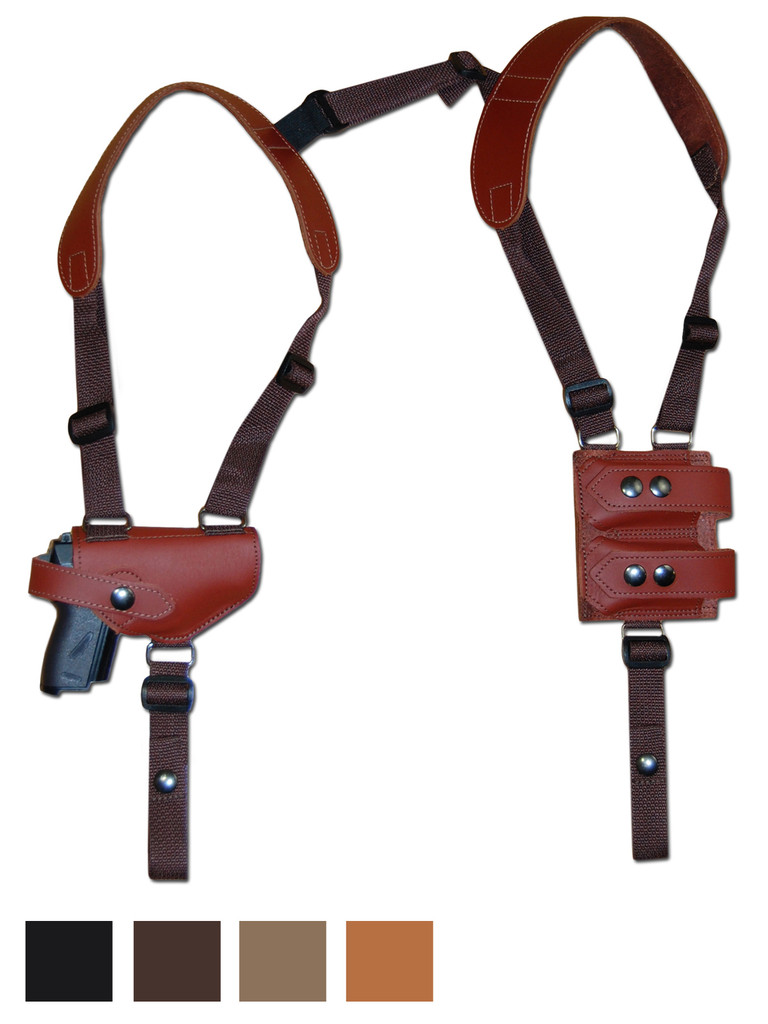Leather Horizontal Shoulder Holster w/ Magazine Pouch for Mini/Pocket 22 25 380 Pistols