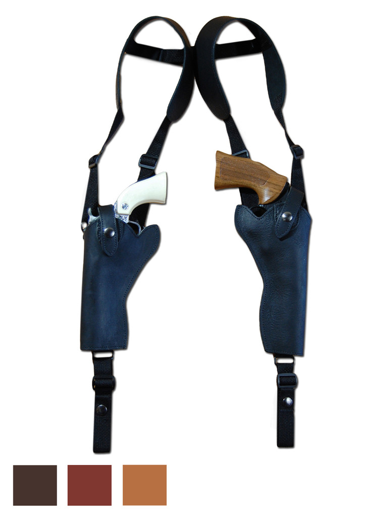 "Leather 2 Gun Shoulder Holster for 3"" - 8"" Revolvers"