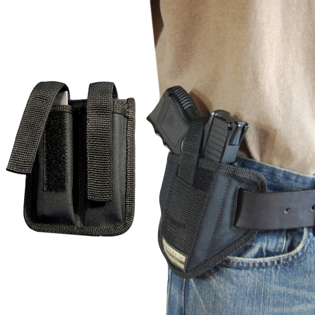 New 6 Position Ambidextrous Pancake Holster + Double Magazine Pouch for Compact 9mm 40 45 with LASER (#C34L)