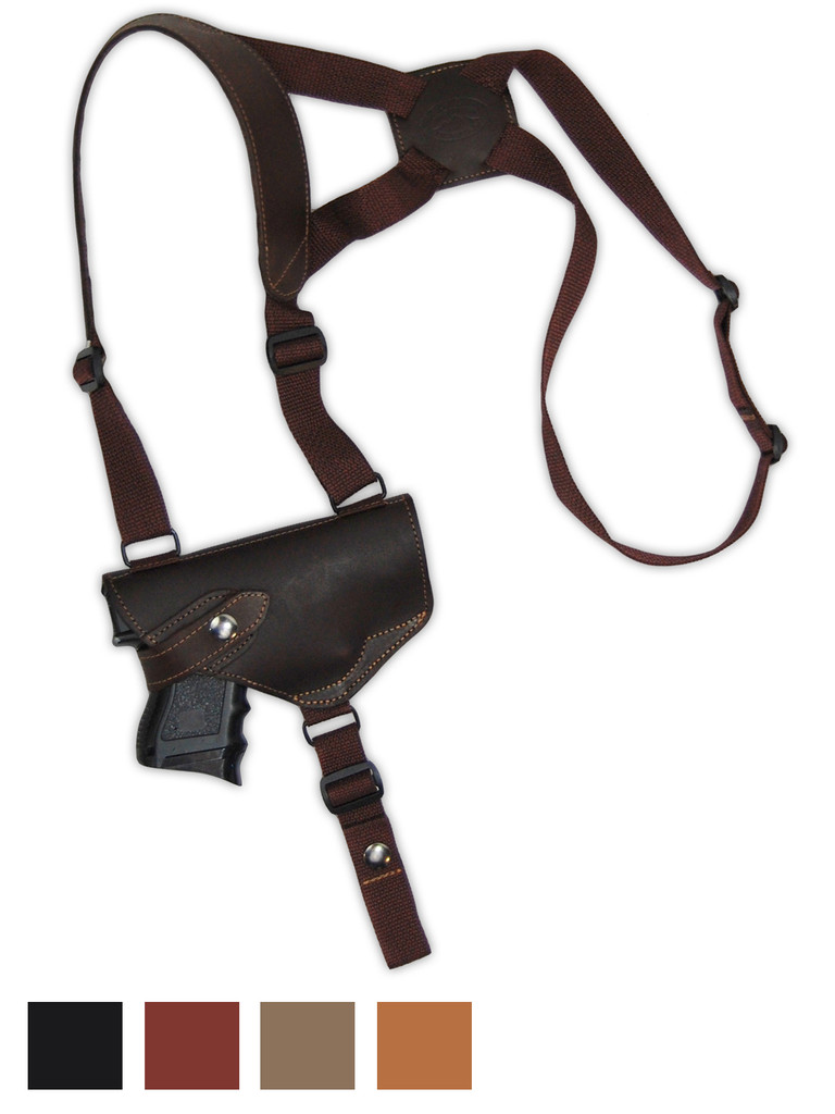 Leather Horizontal Shoulder Holster for Compact 9mm 40 45 Pistols with LASER
