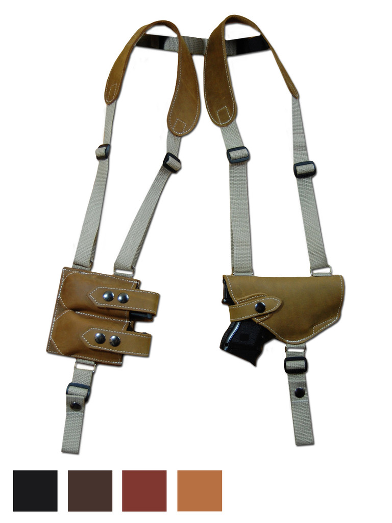 Leather Horizontal Shoulder Holster with Double Magazine Pouch for Compact 9mm .40 .45 Pistols with LASER