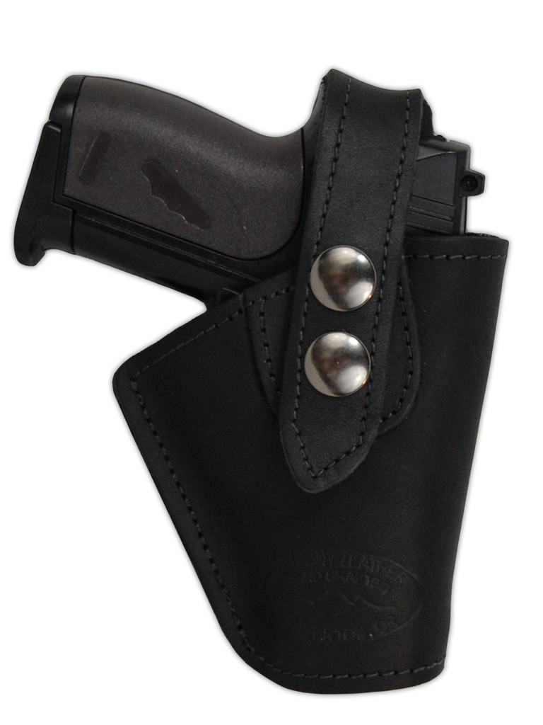 Black Leather Belt Holster for Mini .22 .25 .32 .380 Pistols with LASER