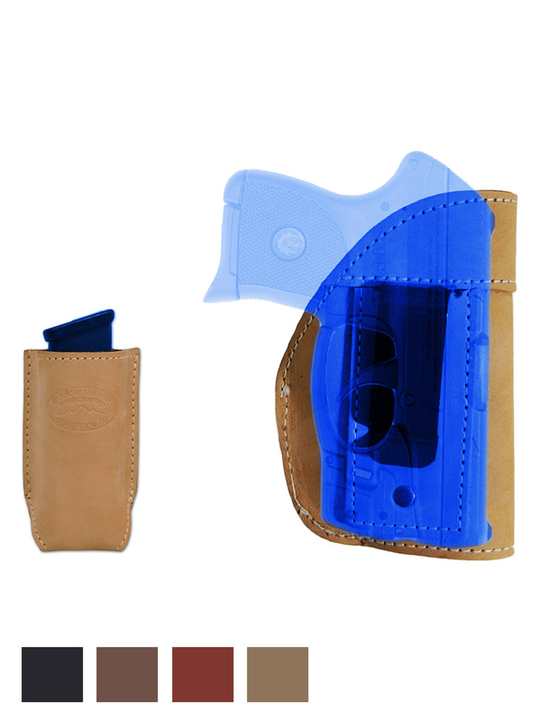 New Leather Inside the Waistband Holster + Magazine Pouch for .380 Ultra Compact 9mm .40 .45 Pistols with LASER (#LC68-42LE)