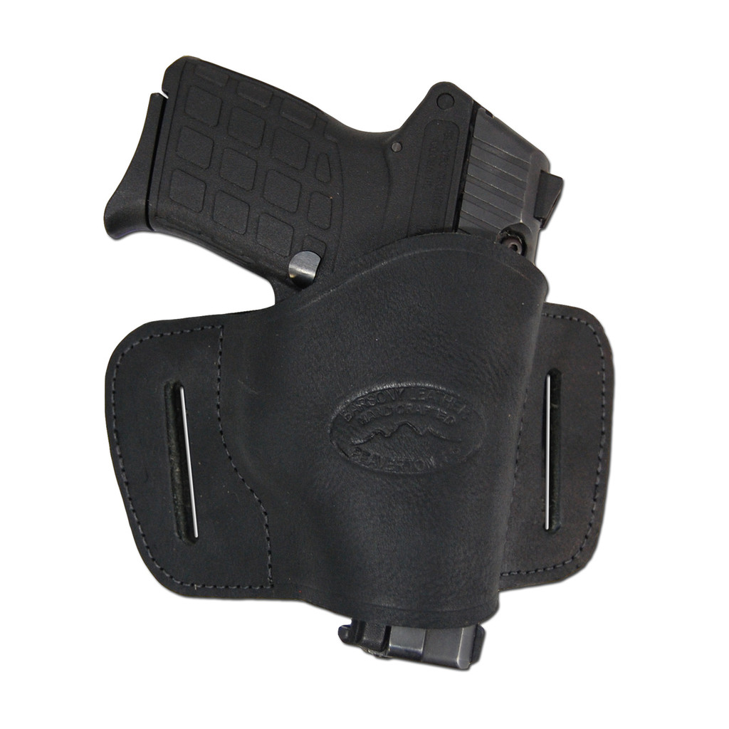Black Leather Quick Slide Holster for .380 Ultra Compact 9mm .40 .45 Pistols with LASER