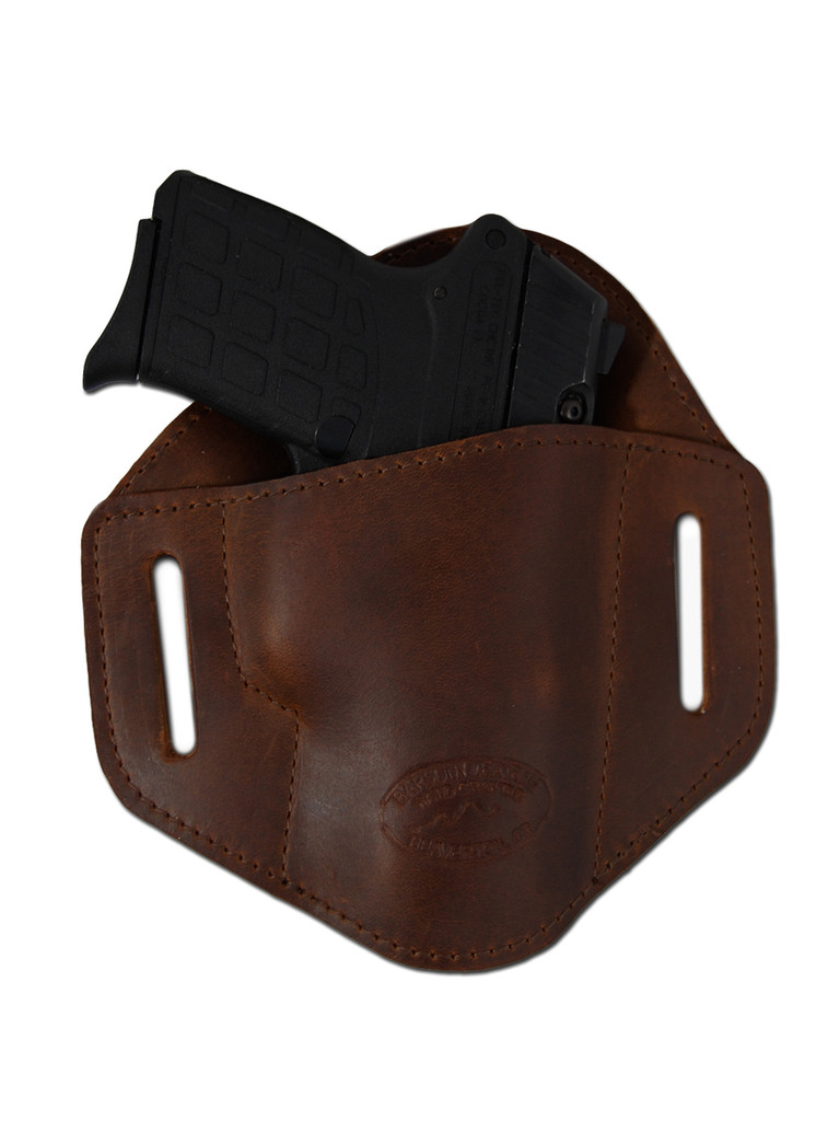 Brown Leather Pancake Belt Slide Holster for .380 Ultra Compact 9mm .40 .45 Pistols with LASER