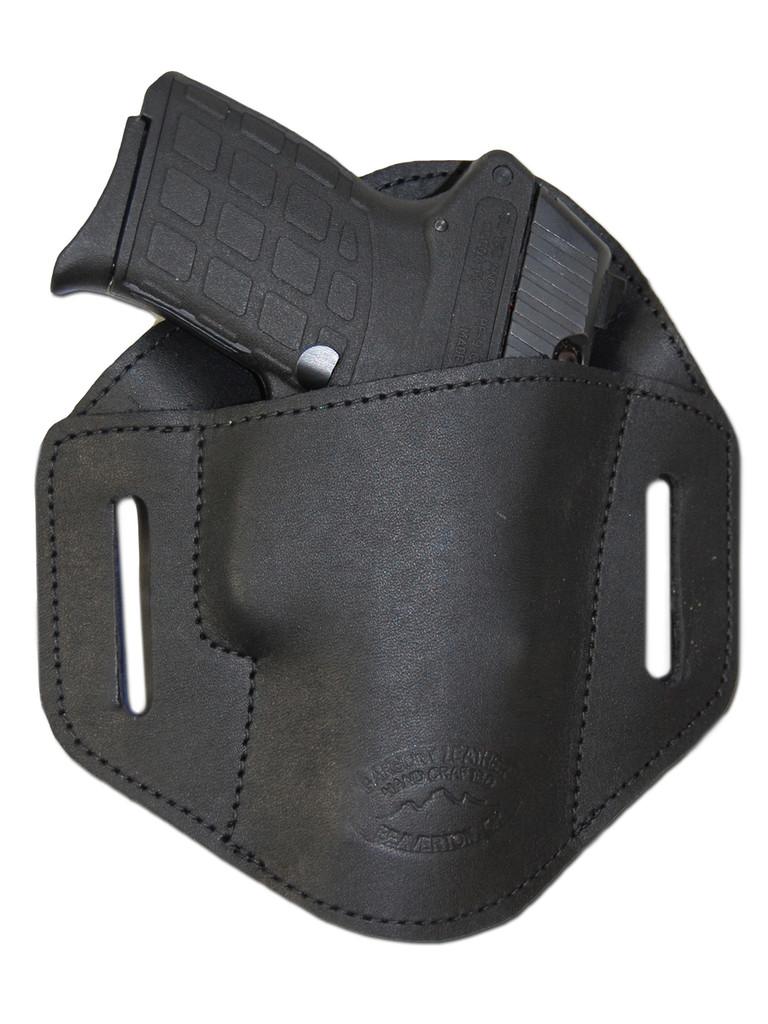 Black Leather Pancake Belt Slide Holster for .380 Ultra Compact 9mm .40 .45 Pistols with LASER