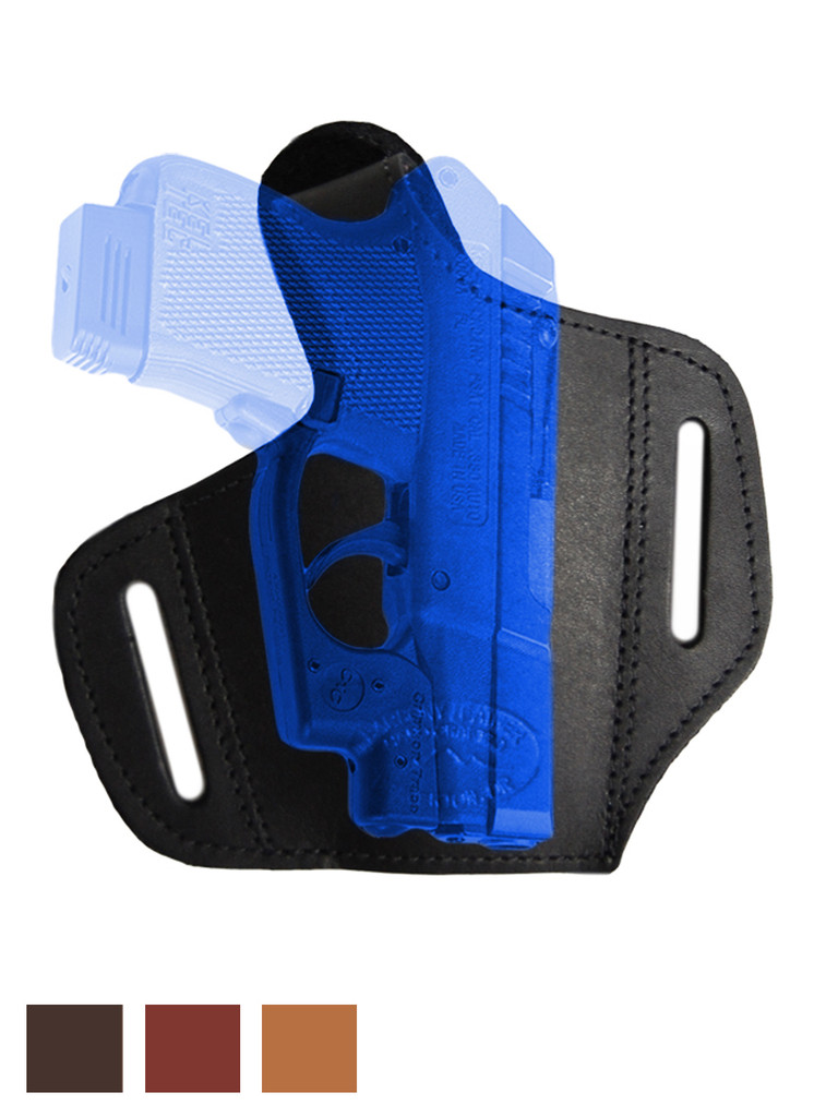 Leather Pancake Holster for .380, Ultra Compact 9mm .40 .45 with LASER