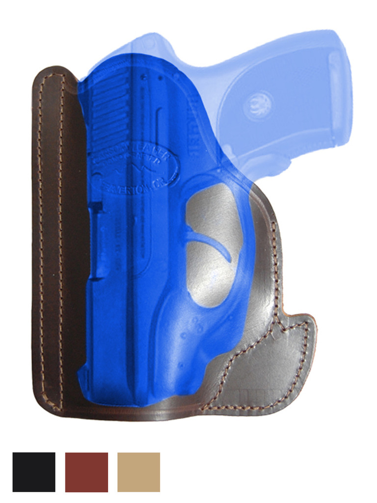 Leather Ambidextrous Pocket Holster for Compact 9mm .40 .45 Pistols with LASER