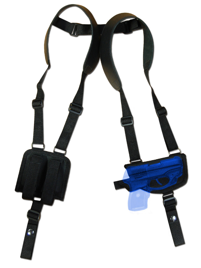 Horizontal Shoulder Holster w/ Magazine Pouch for .380, Ultra Compact 9mm .40 .45 Pistols with LASER