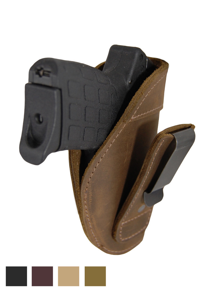 Leather Tuckable IWB Holster for Small 380, Ultra Compact 9mm 40 45 Pistols