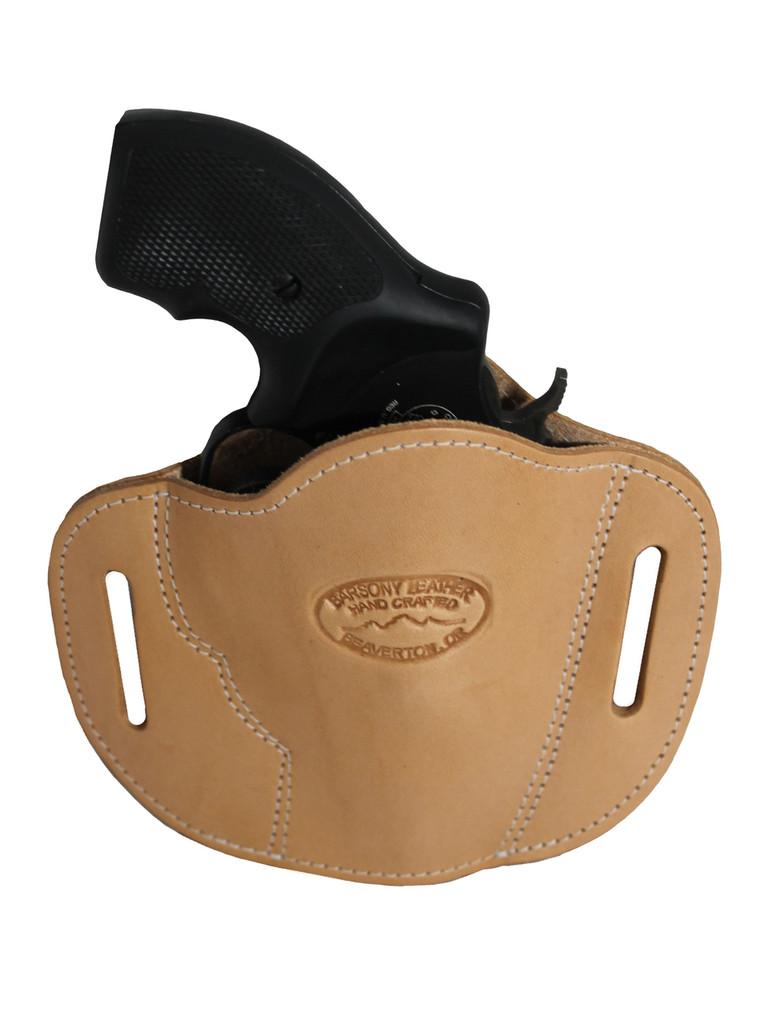 """Natural Tan Leather Pancake Belt Slide Holster for 2"""" Snub Nose Revolvers"""