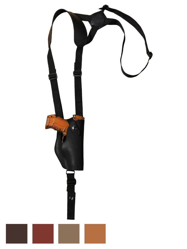 Holster store: Leather Vertical Shoulder Holster for Compact 9mm 40 45 Pistols