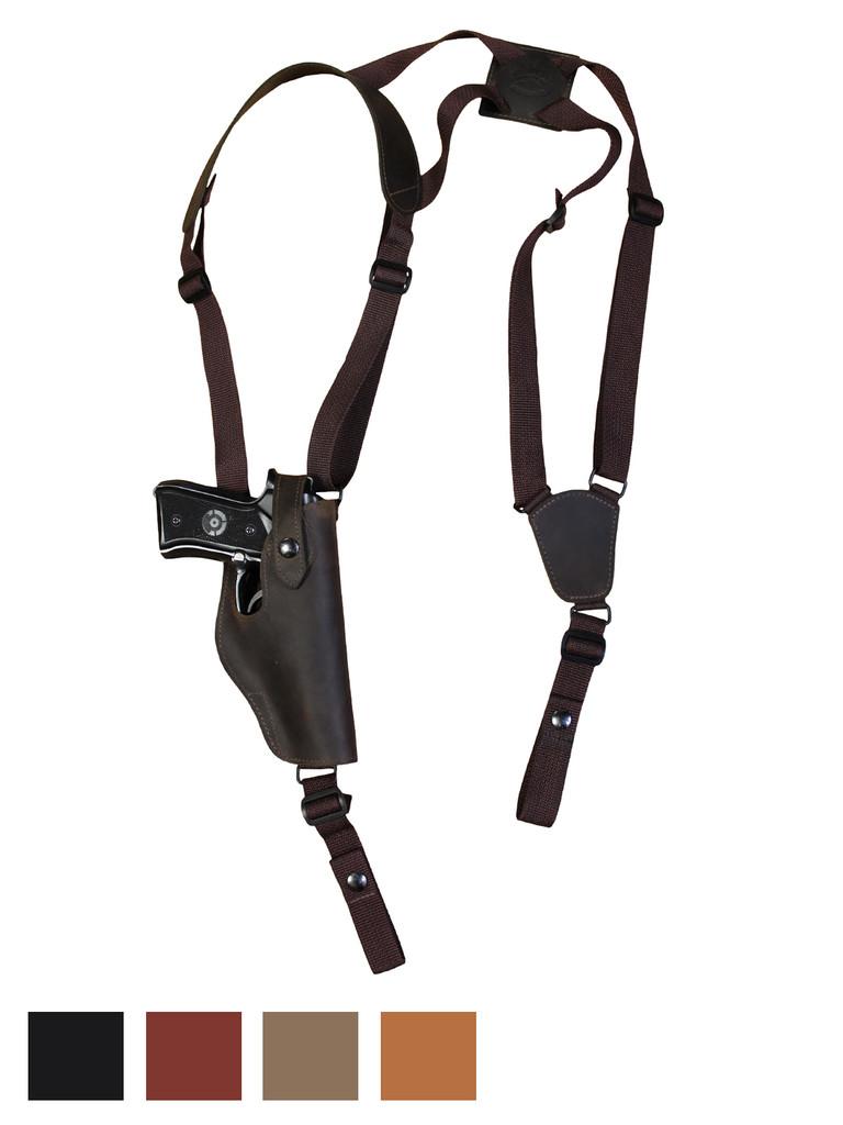 Leather Vertical Shoulder Holster for Full Size 9mm 40 45 Pistols