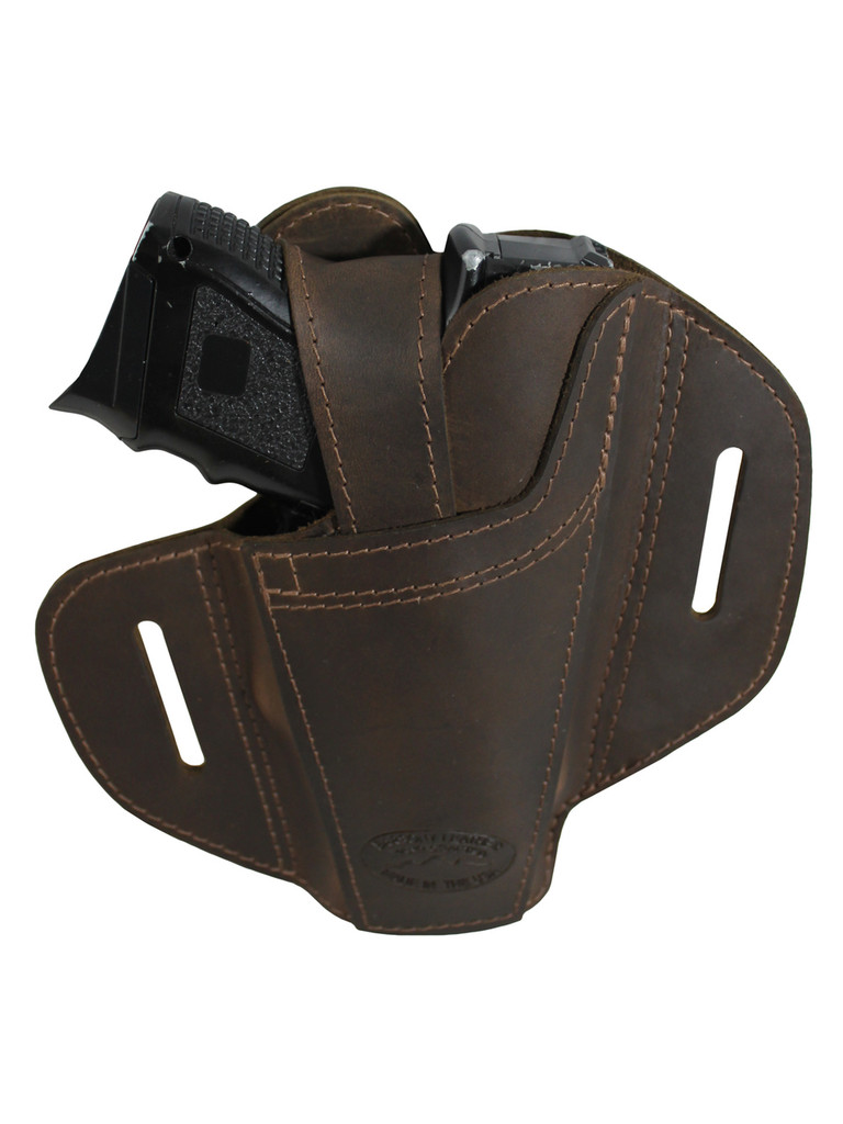 Ambidextrous Brown Leather Pancake Holster for Compact Sub-Compact 9mm 40 45 Pistols