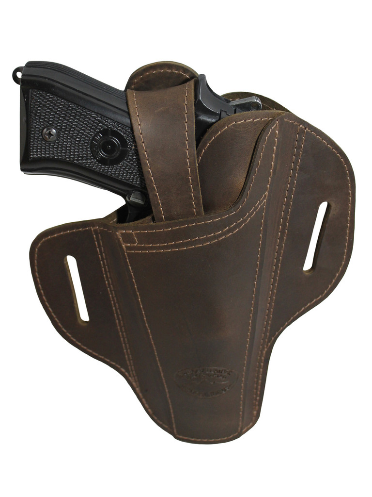 Ambidextrous Brown Leather Pancake Holster for Full Size 9mm 40 45 Pistols