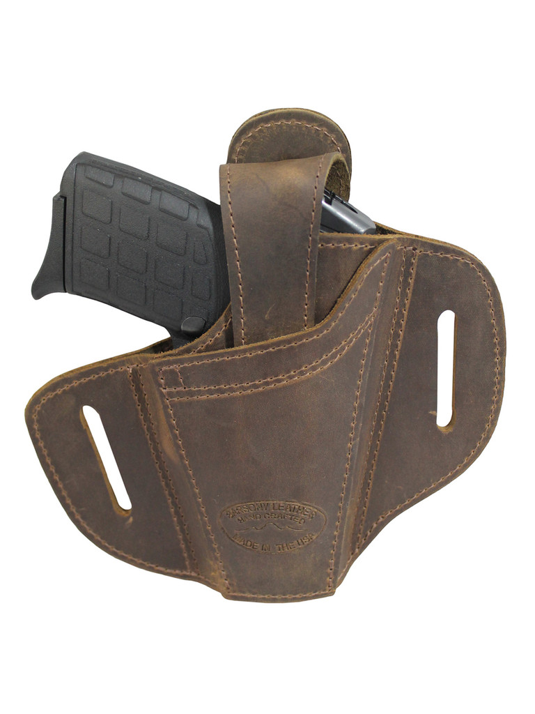 Brown Leather Ambidextrous Pancake Holster 380, Ultra Compact 9mm 40 45 Pistols