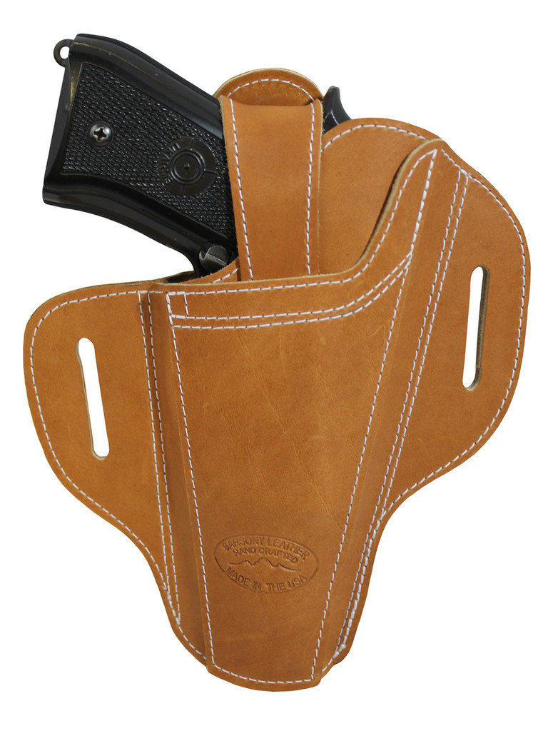 Ambidextrous Tan Leather Pancake Holster for Full Size 9mm 40 45 Pistols