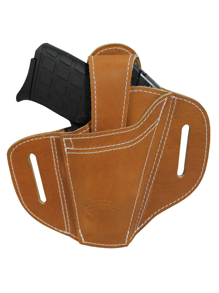 Ambidextrous Tan Leather Pancake Holster 380, Ultra Compact 9mm 40 45 Pistols