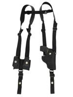 "Black Leather Vertical Shoulder Holster w/ Speed-loader Pouch for 2"" Snub Nose Revolvers"