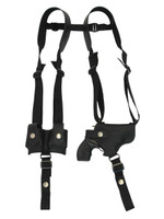 "Black Leather Horizontal Shoulder Holster w/ Speed-loader Pouch for 2"" Snub Nose Revolvers"