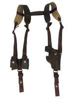 """Brown Leather Vertical Shoulder Holster w/ Speed-loader Pouch for 2"""" Snub Nose Revolvers"""