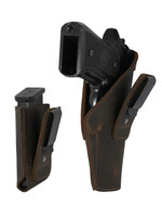 Brown Leather Tuckable IWB Holster + Magazine Pouch for Full Size 9mm .40 .45 Pistols