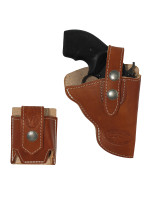 """Saddle Tan Leather OWB Holster + Speed-loader Pouch for Snub Nose 2"""" Revolvers"""