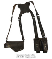 ambidextrous leather shoulder holster with magazine pouch