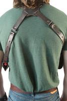 leather back piece for shoulder harness