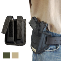 6 Position Ambidextrous Pancake Holster + Double Magazine Pouch Combo for Compact 9mm 40 45 Pistols