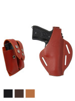 Leather Pancake Holster + Double Magazine Pouch for Full Size 9mm 40 45 Pistols