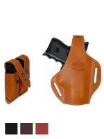 Leather Pancake Holster + Double Magazine Pouch for Compact 9mm 40 45 Pistols