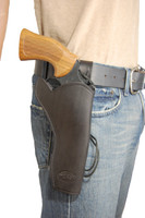 """Black Leather 49er Western Style Holster for 6"""" Revolvers"""