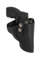 """Black Leather Outside the Waistband (OWB) Holster for Snub Nose 2"""" 22 38 357 41 44 Revolvers"""