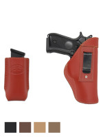 Leather Inside the Waistband Holster + Magazine Pouch for Full Size 9mm 40 45 Pistols