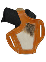 Saddle Tan Leather Hair on Hide Inlay Pancake Holster for 380, Ultra Compact 9mm 40 45 Pistols