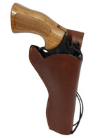 """Brown Leather 49er Western Style Holster for 6"""" Revolvers"""