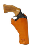 """Saddle Tan Leather Cross Draw Holster for 4"""" Revolvers"""
