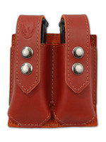 Burgundy Leather Double Magazine Pouch